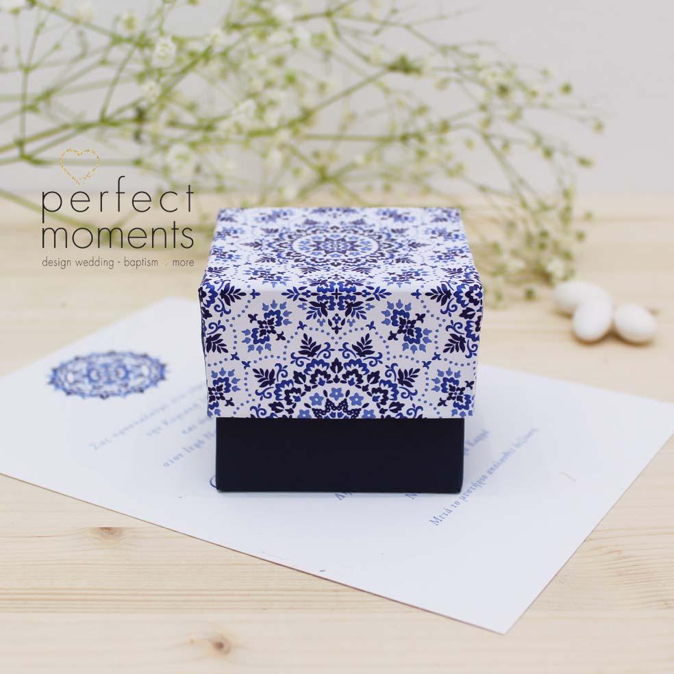 4121 - Μπομπονιέρα Γάμου Κουτί Boho Blue
