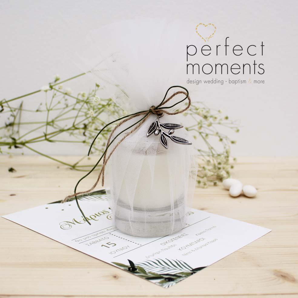 4126 - Μπομπονιέρα Γάμου Κερί με διακοσμητική Ελιά