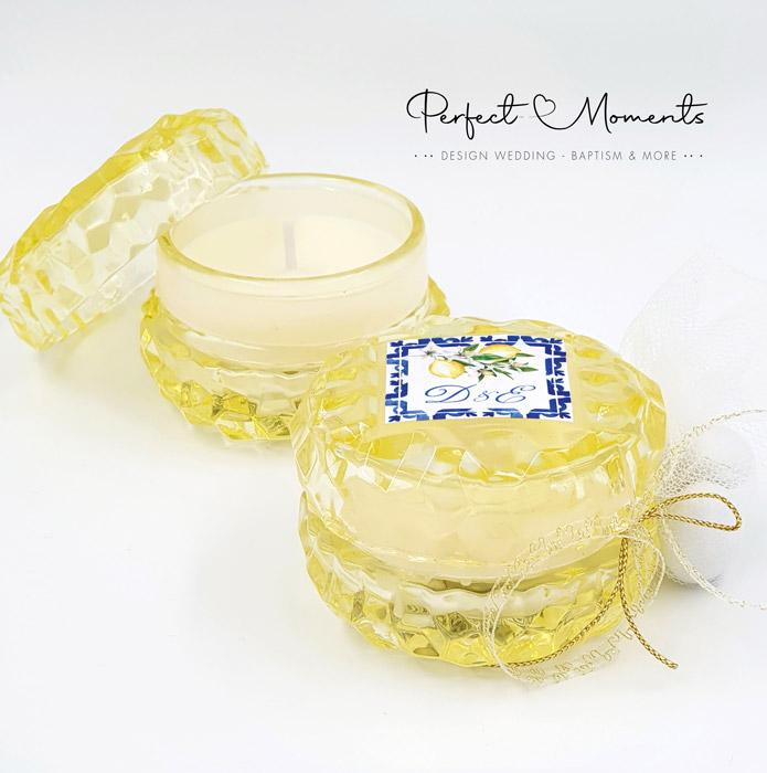 21307 - Μπομπονιέρα γάμου σκαλιστό αρωματικό κερί κίτρινο
