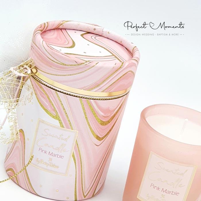 21313 - Μπομπονιέρα βάπτισης αρωματικό κερί pink marble
